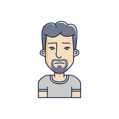 Vector character illustration of man face in cartoon linear