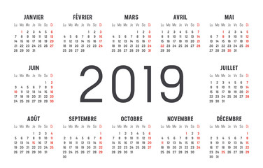 Calendrier Agenda 2019