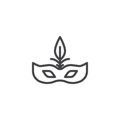 Carnival mask outline icon. linear style sign for mobile concept and web design. Venice mask simple line vector icon. Masquerade Symbol, logo illustration. Pixel perfect vector graphics