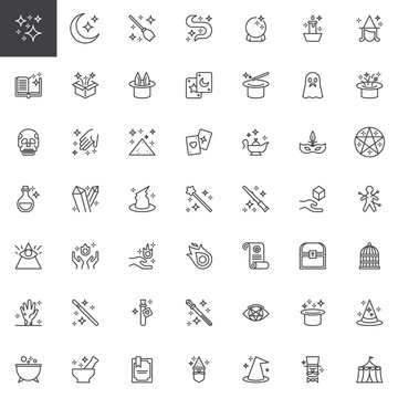 Magic elements outline icons set. linear style symbols collection, line signs pack. vector graphics. Set includes icons as Magic book, Box, Ball, Rabbit, Wand, Witch broomstick, Zombie, Ghost, Voodoo