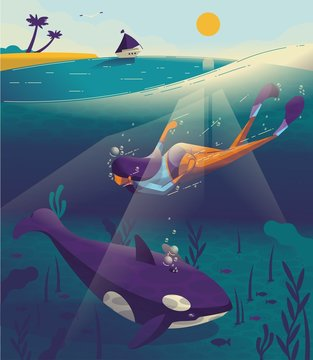 Girl swimming underwater with a whale