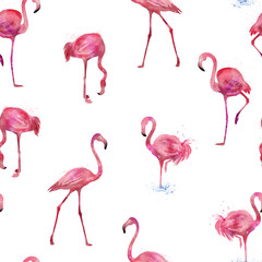 Canvas Prints Flamingo Seamless flamingos pattern, watercolor