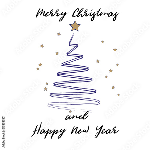 Merry Christmas and Happy New Year greeting card. Stylized Christmas ...