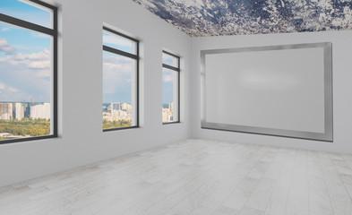 Blank room.  Mockup.. Modern meeting room. 3D rendering.. Empty paintings
