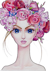 The girl with flower wreath in color (19)