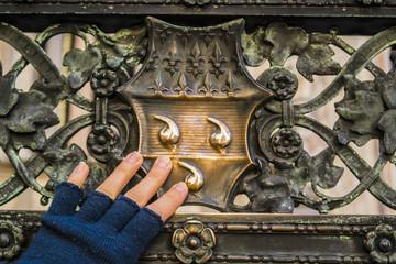 coat of arms of the colleoni family, railing of Colleoni chapel, High Bergamo, Lombardia, Italy