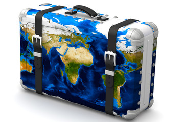 Big travel suitcase with a map of the world on white surface. Isolated. 3D Illustration