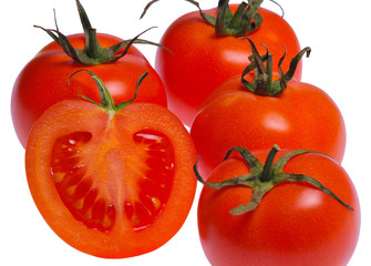 tomato isolated on white / four and one half of tomato isolated on white