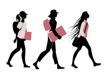 Silhouette of teenage girls going to school on white background.