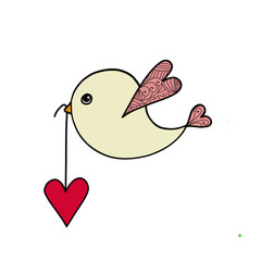 Valentines Day card with a bird carrying heart