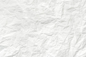 Crumpled white paper sheet, texture wrinkled background