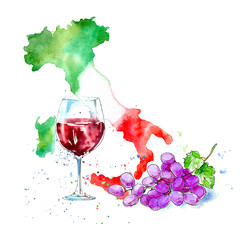 Red wine, glasses, grapes and map of Italy.Picture of a alcoholic drink.Beverage.Watercolor hand drawn illustration. White background.