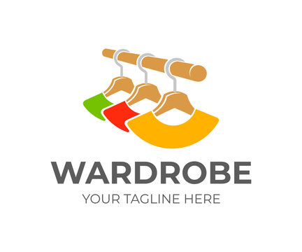 Wardrobe and hangers with clothes, logo design. Wardrobe stand with hangers and colorful clothes hanging on rail in wooden wardrobe, vector design. Fashion, shop and textile industry, illustration