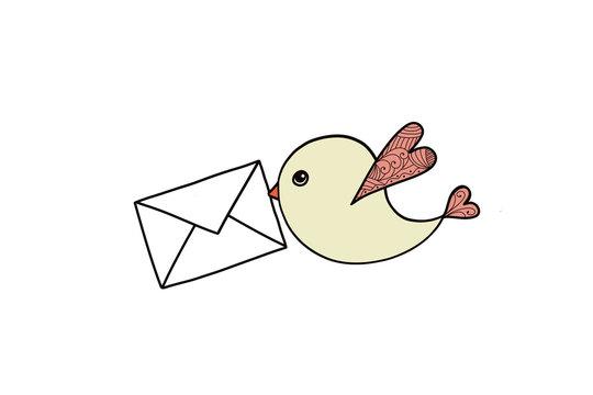 Bird with envelope isolated on white background