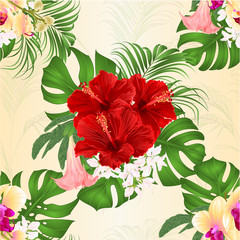 Seamless texture bouquet with tropical flowers floral arrangement, with beautiful yellow orchid, red hibiscus, palm,philodendron and Brugmansia vintage vector illustration editable hand draw