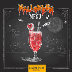 Vintage chalk drawing halloween cocktail menu design