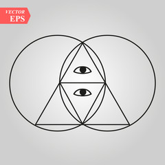 Sacred geometry pyramid with the eye,- vesca piscis -pointed oval figure used as an architectural feature and as an aureole enclosing figures such as Christ or the Virgin Mary in medieval art.