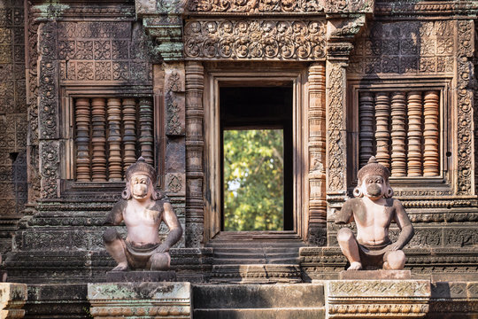 Detailed carving on the facade of a temple at Banteay Srei in Angkor, Siem Reap, Cambodia