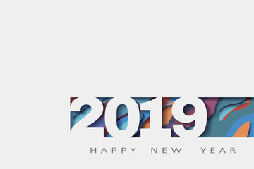 2019 happy new year, abstract design 3d, illustration,Layered realistic, for banners, posters flyers