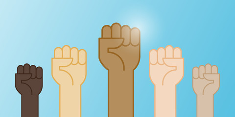Multiracial fists hands up vector illustration. Concept of unity, revolution, fight, cooperation. Flat outline design.