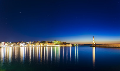 Panoramic view of The Venetian Harbour at night, Chania, Crete, Greek Islands, Greece, Europe