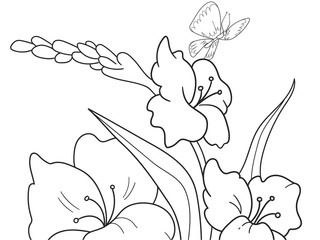 Childrens coloring cartoon Glade with flowers in nature.