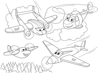 cartoon coloring helicopters and planes with faces. Live transport.