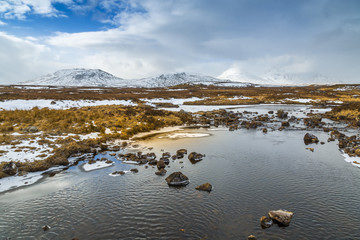 Scenic view of mountains and frozen water near Bridge of Orchy, Highlands, Argyll and Bute, Scotland, United Kingdom, Europe