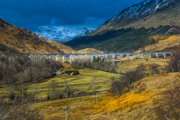 View of The Glenfinnan Viaduct a Railway Viaduct on the West Highland Line in Glenfinnan, Inverness-shire, Scotland, United Kingdom, Europe