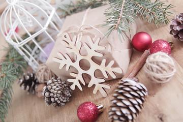 closeup of Christmas gift and Christmas candle.