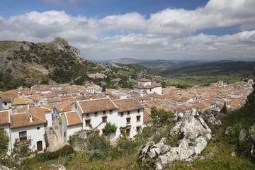 View over Andalucian white village, Grazalema, Sierra de Grazalema Natural Park, Andalucia, Spain, Europe