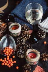 wine in glasses ,red berries,bumps and autumn branches on dark table. Autumn or Winter concept.