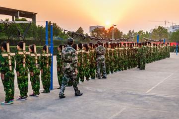 Chinese freshmen college students at military training