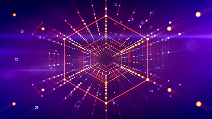 Hi-tech hexagonal neon portal flying