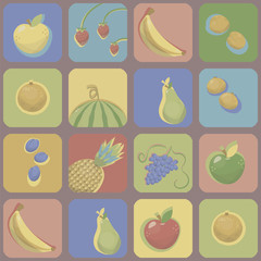 Multicolored squares with rounded corners with pictures of bright fruits, berry with contrasting color shadow, glare and volume vector seamless pattern.