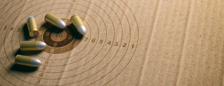 Bullets on shooting target, recycling carton paper, banner, copy space. 3d illustration