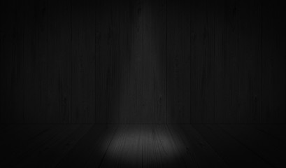 Dark Black studio room background, grey floor backdrop with spotlight