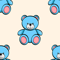 Seamless background isolated object on white background. A blue bear, a toy. Vector
