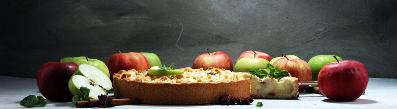 Apple pie or homemade cake with apples. Delicous dessert apple tart