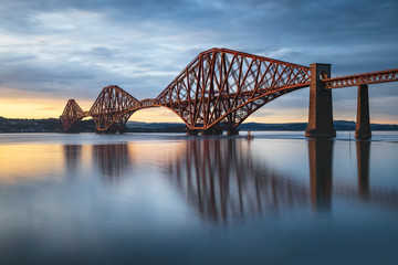 Foto auf Acrylglas Bridges View of Forth Rail Bridge at sunset railway bridge over Firth of Forth near Queensferry in Scotland
