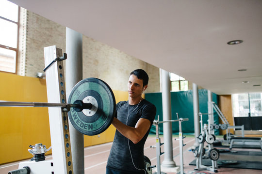 Man and barbell
