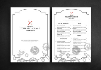 Resturant Menu Layout with Vegetable Illustrations
