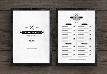 Distressed Restaurant Menu Layout