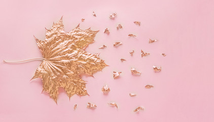 Autumn rose gold maple leaf with elements crumbs on pastel pink paper background. Minimal creative concept with space for text. Top view.