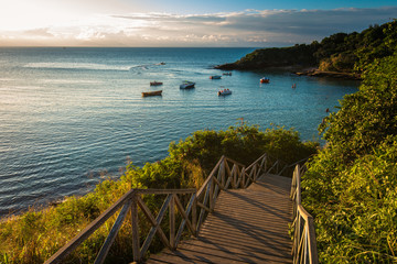 Fototapete - Wooden Stairs Leading to the Azeda Beach by Sunset in Buzios, Brazil