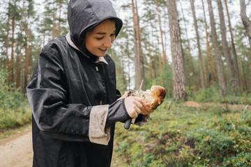 Girl Grabbing a Boletus.