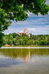 Chateau Konopiste reflected in the water, Central Bohemia, Czech Republic.tourist
