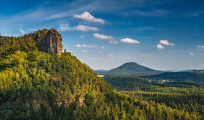 Beautiful summer sunset in Bohemian Switzerland National Park, Czech republic