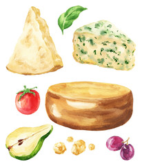 Hand drawn watercolor parmigiano italian and brie french cheese with tomato, pear and grape berries, isolated on white background. Delicious food illustration.
