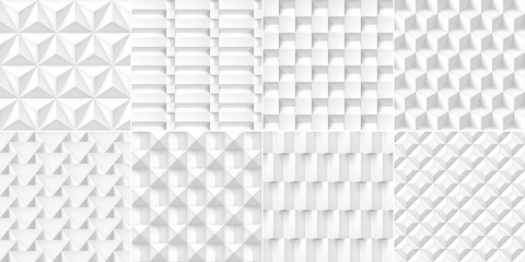 8 Volume realistic cubes textures set, white geometric patterns, vector design light backgrounds for you projects